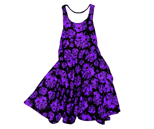 Twiztid Purple and Black Skull Lungs Pattern DRESS
