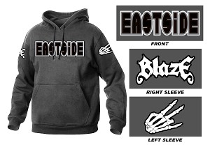 Blaze Eastside Embroidered Charcoal Hoodie